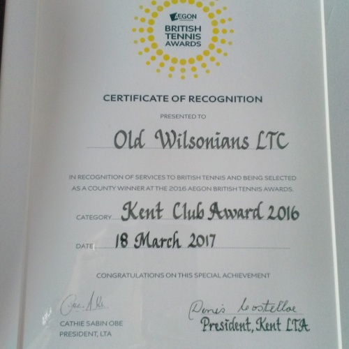 Old Wilsonians Lawn Tennis Club are named Kent Tennis Club of the Year